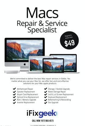 mac repair richardson Texas ifixgeek